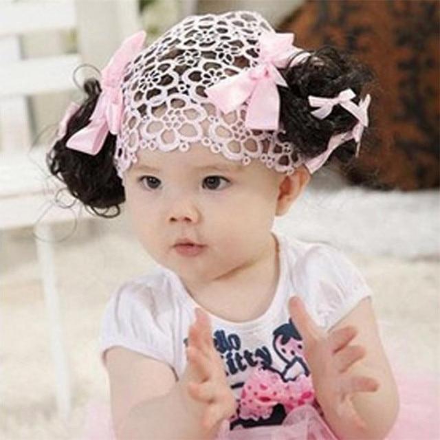 Sweety Cute Baby Girls Double Flaxen Bow Hair Band Head Band