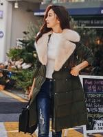 Dabuwawa Turn Down Collar Fur Winter Women Long Coat White Duck Down Green Pink Thick Warm Outerwear Down Jacket Streetwear