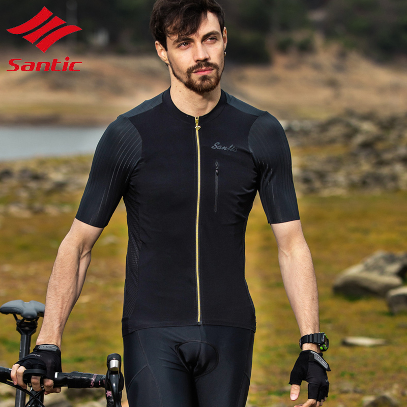 Santic Cycling Jersey Men Short Sleeve Quick Dry Breathable Bike Bicycle Road Downhill Racing Clothes maillot ciclismo ropa