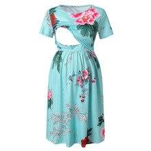 Fashion Maternity Dresses Breastfeeding Floral Print Dress Robe Grossesse Photography Props Women's Summer Plus Size Dress S-2XL