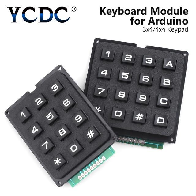 US $3 2 45% OFF|4x4/3x4 Matrix 16/12 Keys Keyboard Keypad Module Use Key  PIC AVR Stamp Sml 4 * 4 Plastic Keys Switch for Arduino Controller-in LED