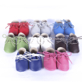 Genuine Leather Baby shoes Soft bottomToddler Baby moccasins lace-up bebe Shoes First Walkers Free shipping