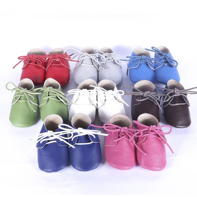 Zapatos de Bebé de Cuero genuino Suave bottomToddler Bebé mocasines con cordones Zapatos bebe Primeros Caminante Envío gratis