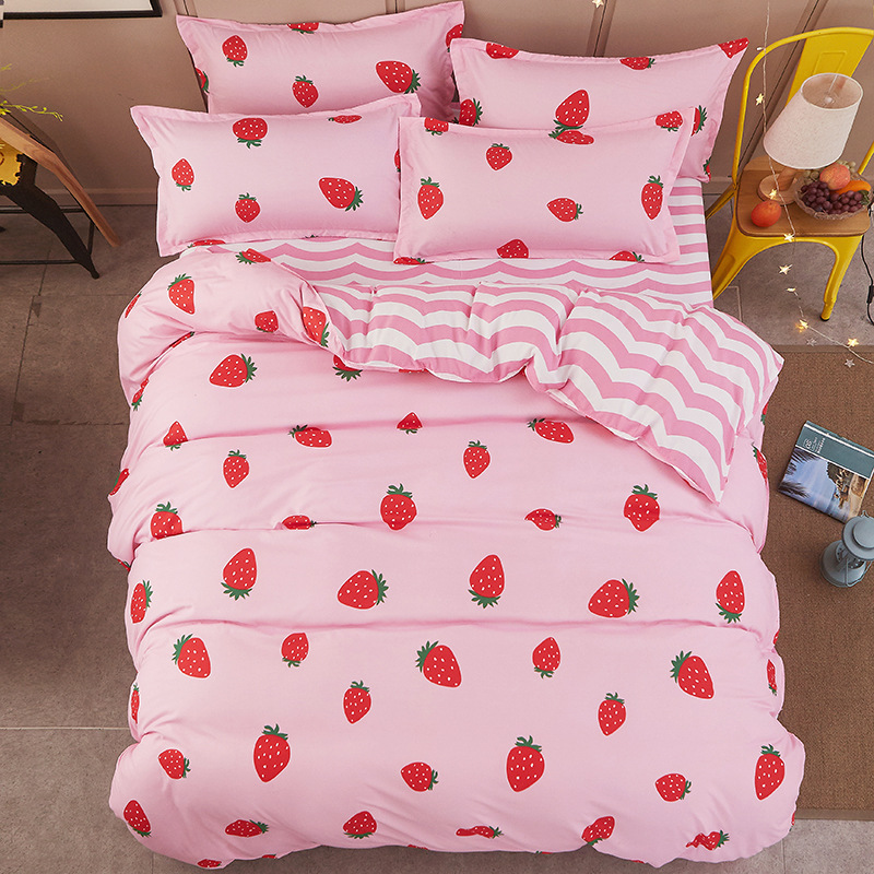 New Cartoon Strawberry Panda Dog Pattern Bedding Sets Bed Cover Bed Sheet Duvet Cover Pillowcase Boy Girl Adult Child Bedclothes