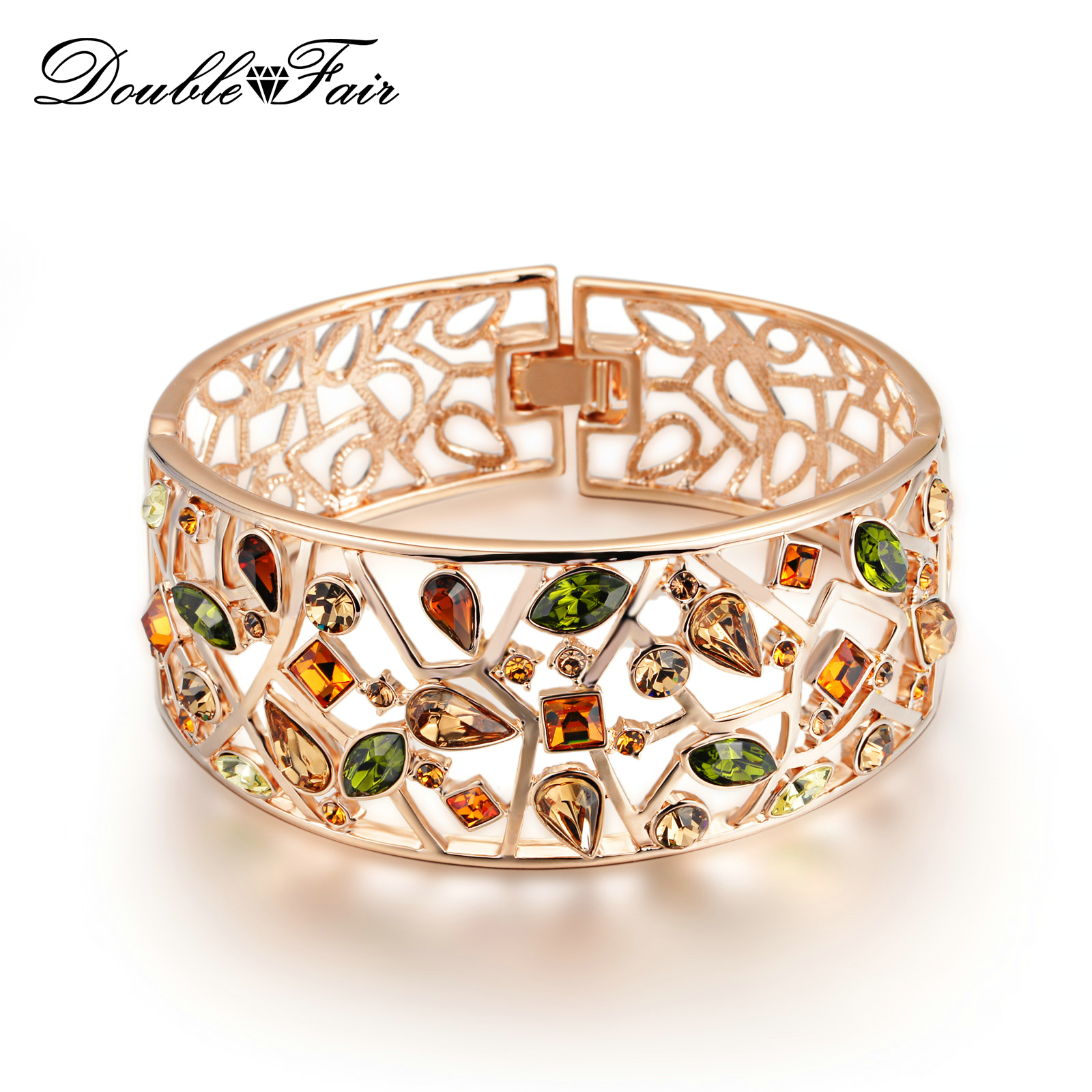 Multicolor Austria Crystal Big Hollow Bracelets & Bangles Rose Gold Color Fashion Rhinestone Jewelry For Women DFB007 gorgeos spliced hollow out rhinestone solid color ring for women