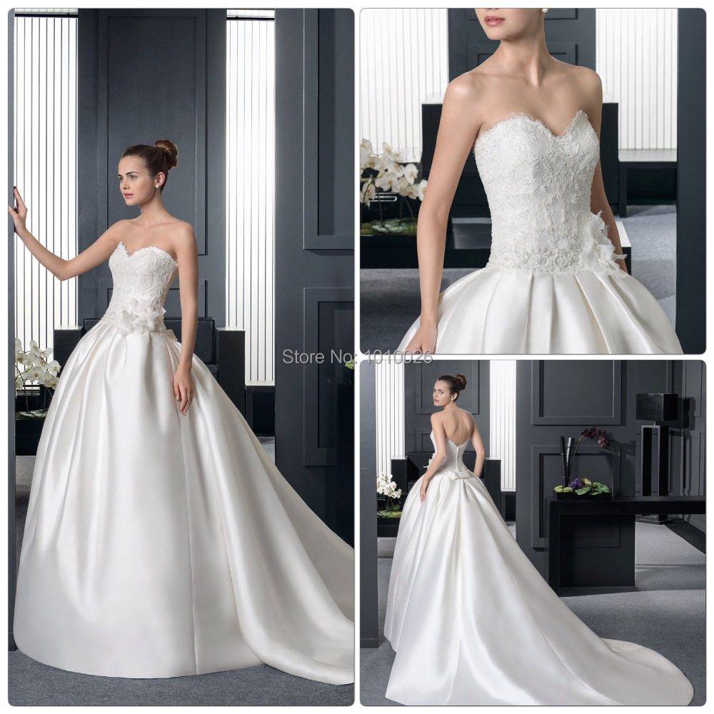 Ivory Lace Bodice Ball Gown Wedding Dress With Sheer Long: 2015 Strapless Sweetheart Lace Bodice Satin Long Train