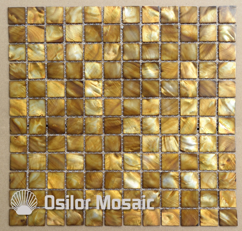 Dyed Yellow Color Chinese Freshwater Shell Mother Of Pearl Mosaic Tile For Kithen And Washroom Decoration Wall Tile