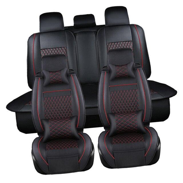 2017 housse de siège de voiture coussin noir ensemble complet voiture imperméable en cuir housses de siège protecteur Auto coussins pour Jeep Rubicon Patriot - 4