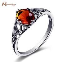 Top Quality 925 Sterling Silver Rings For Women Handmade Spinner Created Amber Gem Wedding Jewelry Toe
