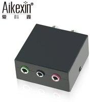 Aikexin 5.1 Ses Oyun Konsolu Adaptörü Dönüştürücü 2X RCA Jack 1/8 (3x3.5mm) 5.1 multimedya hoparlör için ses Jakı, Mikrofon