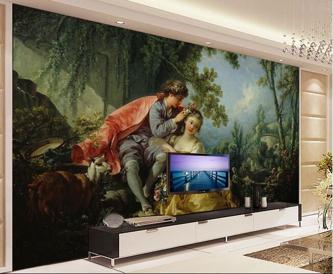 3d wallpaper custom mural non-woven Girls wearing the young TV setting wall of the flower painting photo wallpaper for walls 3d new fine fabric texture wall of setting of the bedroom a study wallpaper of europe type style yulan wallpaper fashion pavilion