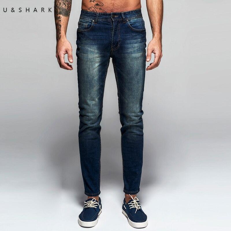 U & Shark Осень Новые итальянские классические синие джинсы Брюки для девочек Для мужчин Slim Fit Марка Мотобрюки мужской высокое качество, поступ...