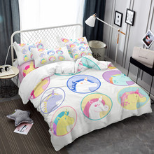 Multi-Color Unicorn Pattern Bedding Set Kids Cartoon Duvet Cover Twin Full King Queen Bed Pillowcase Home Decor D30