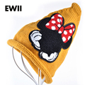 2015 fashion Mickey woman beanies girl solid color knit cap embroidered women jacket winter hat sleeve head hats