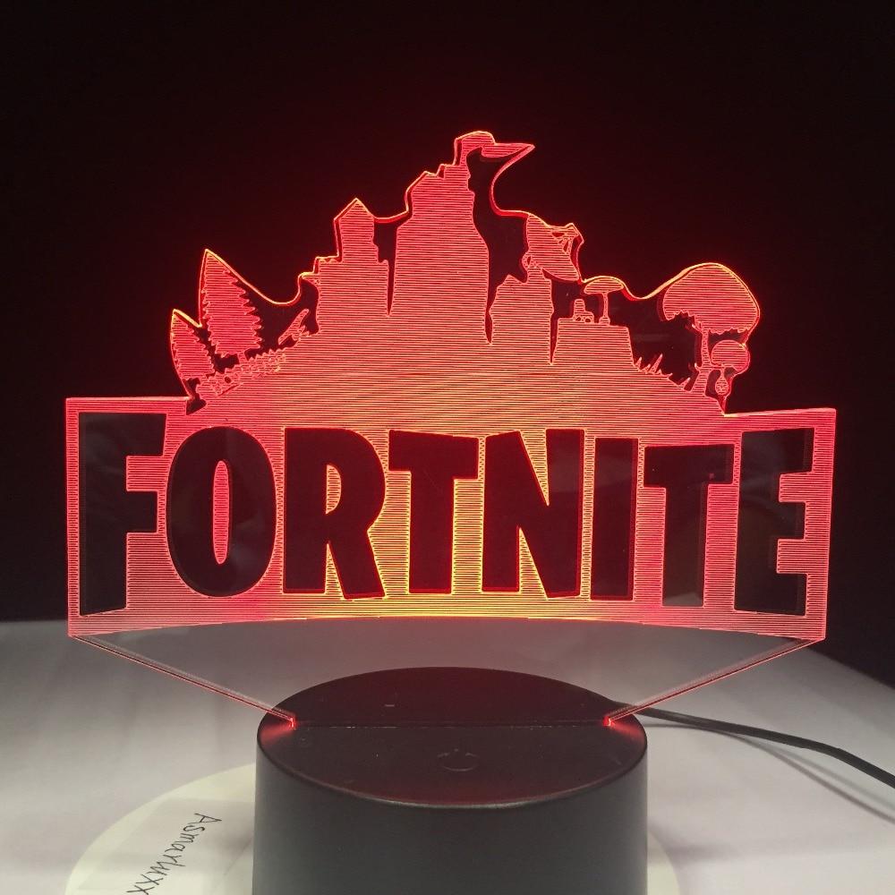 Fortnite Game Logo 3D LED Lamp Light RGBW Changeable Mood Lamp 7 Colors Light Base Cool Night Light for Birthday Holiday Gift