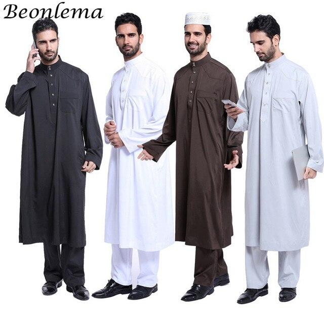 Beonlema Moroccan Kaftan Men Muslim Dress 2 Pieces Abaya Set Formal