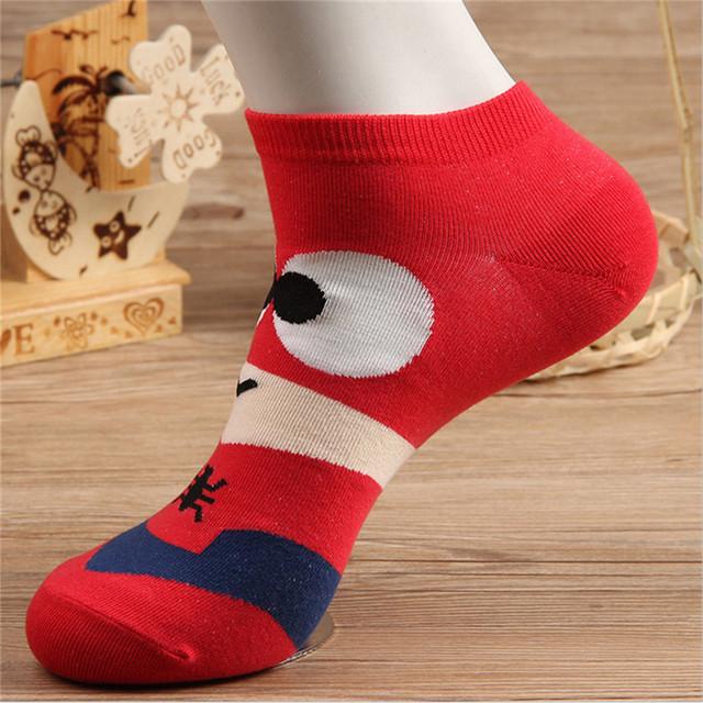 Hot sale! men socks cotton Superman SpiderMan Captain America Avenge men's and Male short sock colorful breathable cartoon socks