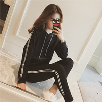 Maternity Autumn New Fund Draw String Hooded Long Sleeved Fleece Female Striped Sports Suit Trousers Of