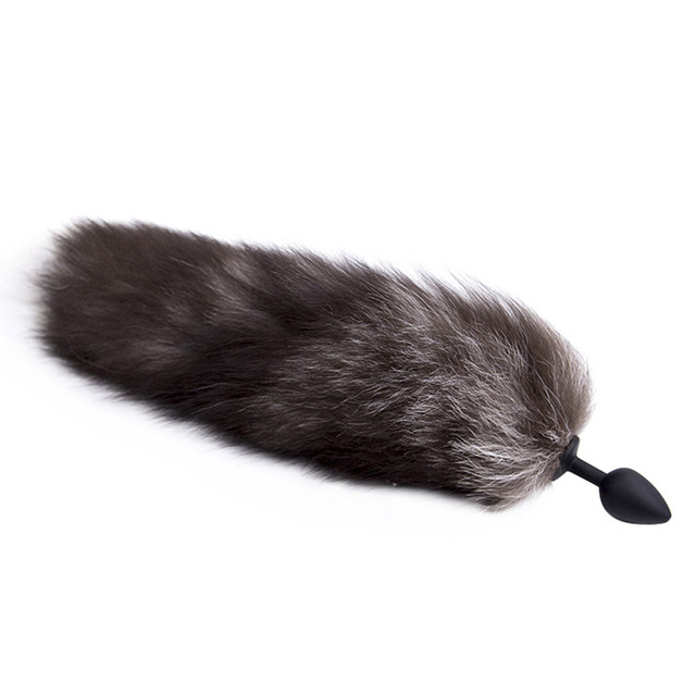 Zerosky Silicone Anal Butt Plug Black Fox Tail