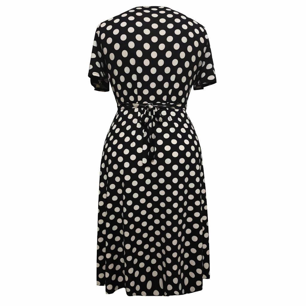 大サイズ 5XL 夏ドレス女性のためのエレガントなポルカドットプリントマキシロングドレスカジュアル V ネック半袖高ベルト Vestidos