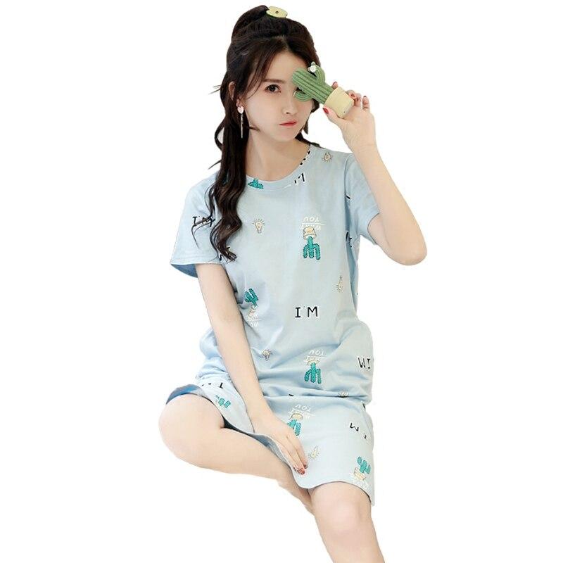 Plus Size M-5XL Nightgowns For Women Cartoon Girls Nightshirts Midi ...