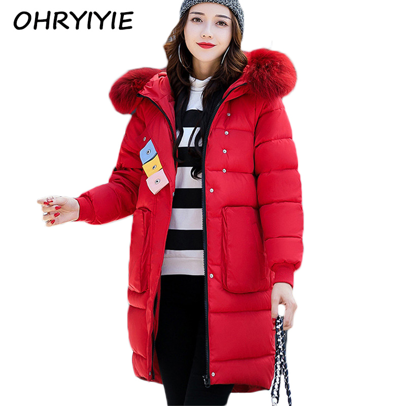 OHRYIYIE New Winter Coat Women 2017 Fashion Long Cotton Jacket Big Fur Collar Hooded Outerwear Female Parka Manteau Femme WC257 2016 new winter coat collar men thickening big hooded cotton coat prevent cold outdoor lovers long fur collar cotton parka
