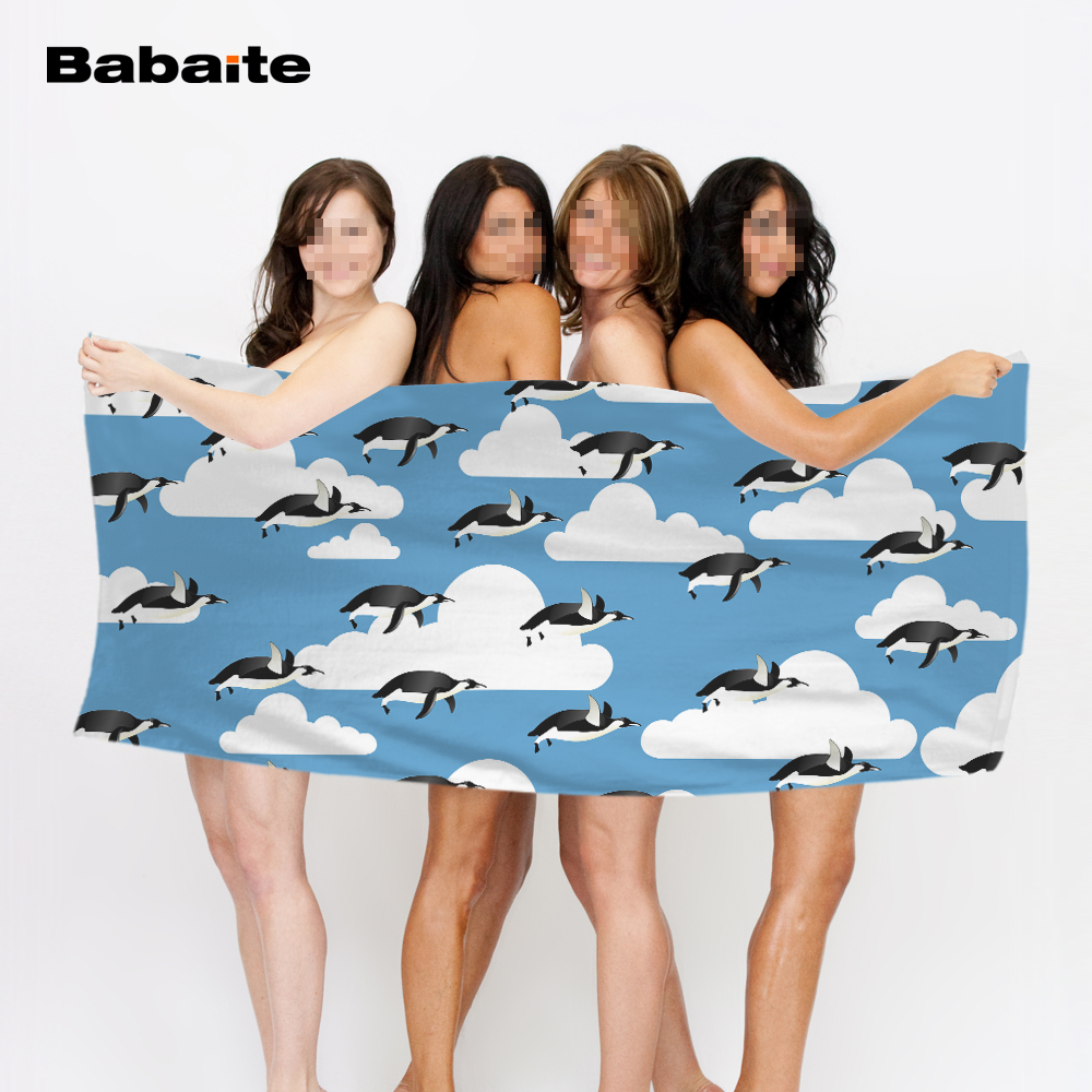 Babaite Cute Penguin Kids Funny Cool Adults Kids Super Absorbent Quick-dry Bath Beach Towel Custom Swimming Pool Sheet Yoga Mat