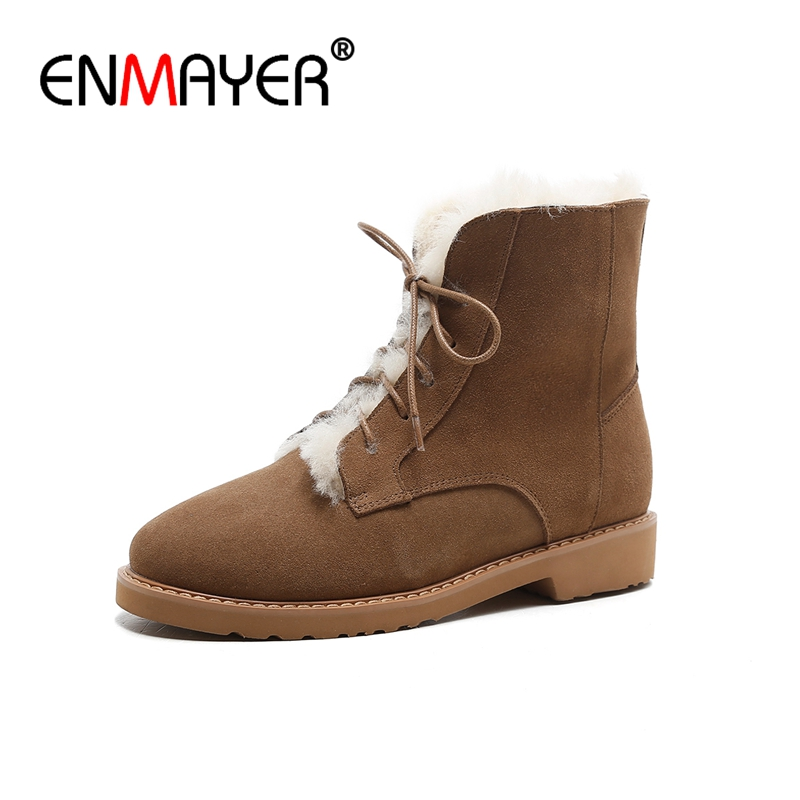 ENMAYER Suede Woman Ankle boots Round Toe Fashion Boots for Women Winter Warm Snow boots Med heels Causal shoes Lace up CR666
