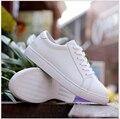 Мода Плоские туфли Неподдельной кожи Женщин Повседневная Обувь на Шнуровке мокасины белый обуви