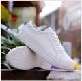 Fashion Flat shoes Genuine leather Women Casual Shoes Lace-Up loafers white shoe