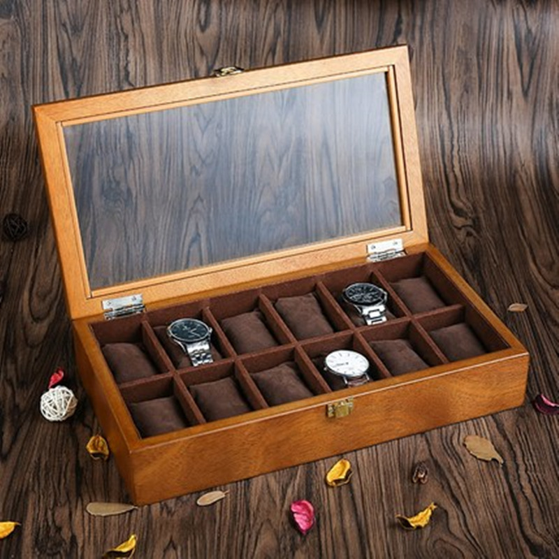 YA Top 12 Slots Wood Watch Case Fashion European Style Watch Storage Cases Wooden Watch And Jewelry Display Boxes C040 red wooden paint watch box pefect to storage watch case gift for watch lacquer boxes may custom logo factory supply