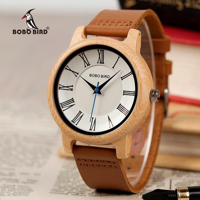 BOBO BIRD Q15 คลาสสิกหนังไม้นาฬิกาควอตซ์นาฬิกาสำหรับคนรัก reloj pareja hombre y mujer