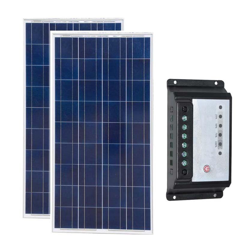 Placa Fotovoltaica 12 v 150 w 2 Pcs Solar Regulador Controlador 12 v/24 v 20A Caravana Chargeur Solaire telefone RV Barcos Iates