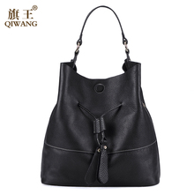 QIWANG 2016 New Lady Cowhide Genuine Leather Bags For Women 2016 Women Bags Spanish Brand Bucket Bag Handbag Fashion