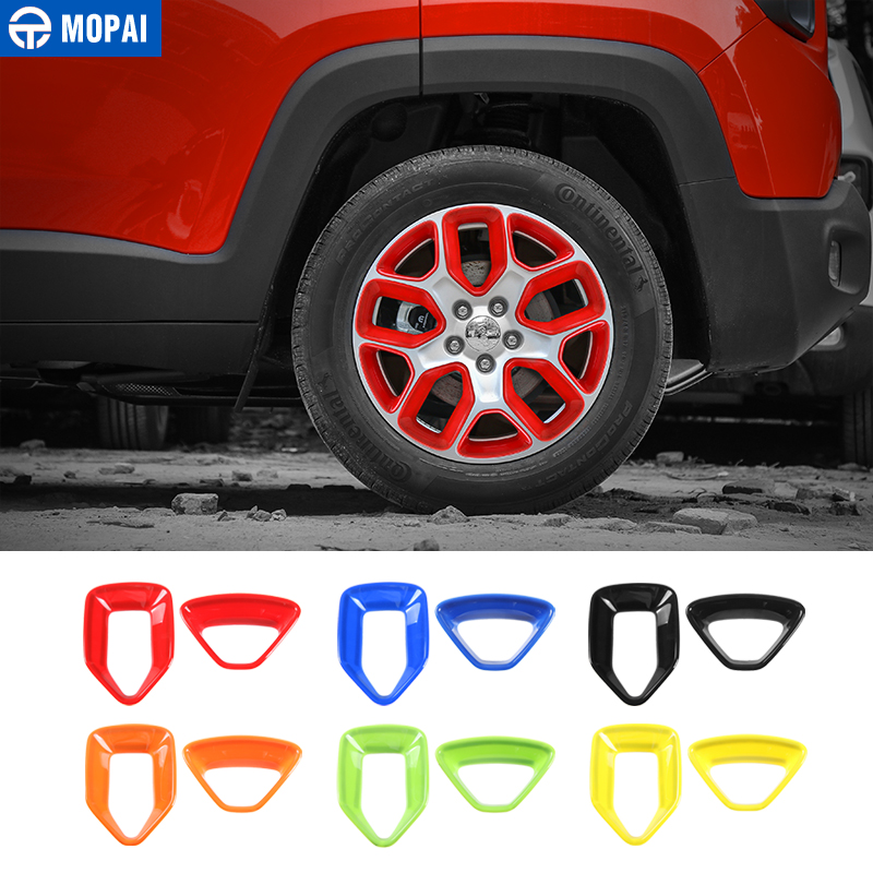 MOPAI ABS Car Wheel Hub Cover Decoration Cover Frame ABS Stickers for Jeep Renegade 2015-2017 Exterior Accessories Car Styling