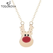 Todorova Lovely Rudolph Reindeer Animal Pendant Chain Necklace for Women Minimalist Statement Jewelry Christmas Gift Accessories