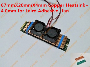 67mmX20mmX4mm Pure Copper Heatsink for M.2 NGFF 2280 PCI-E NVME SSD with fan 4.0mm for Laird Adhesive Heat sink cooling vest