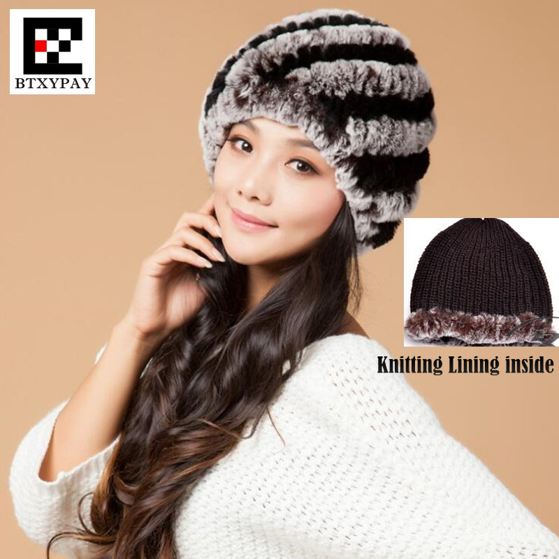 Female Fur Hat Guarantee 100% Natural Genuine Rex Rabbit Fur Cap Knitted Neri Hats Winter Women Beanies Bone Warm Pineapple Cap russian hats for extremely cold fur hat guarantee 100