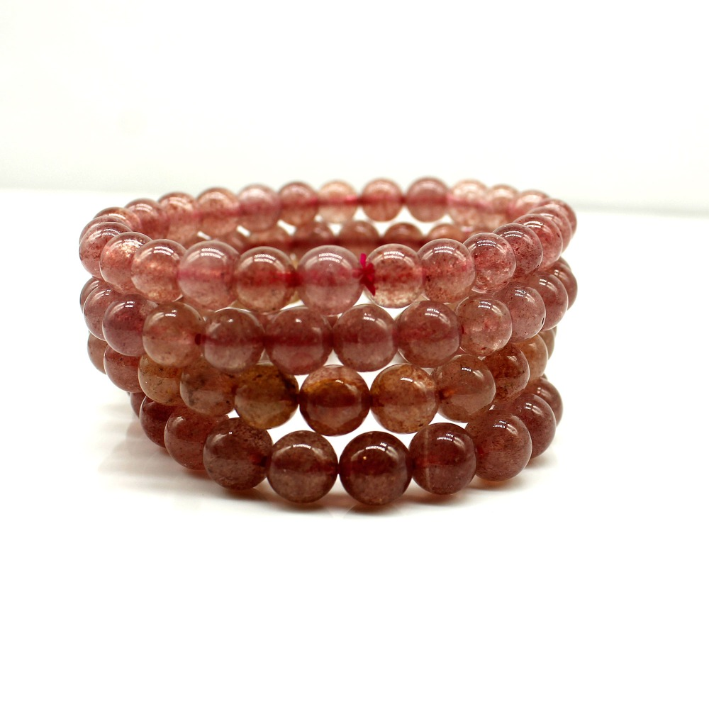 8mm Natural Red Strawberry Quartz Crystal Bracelets For Women Femme Charm Stretch Round Bead