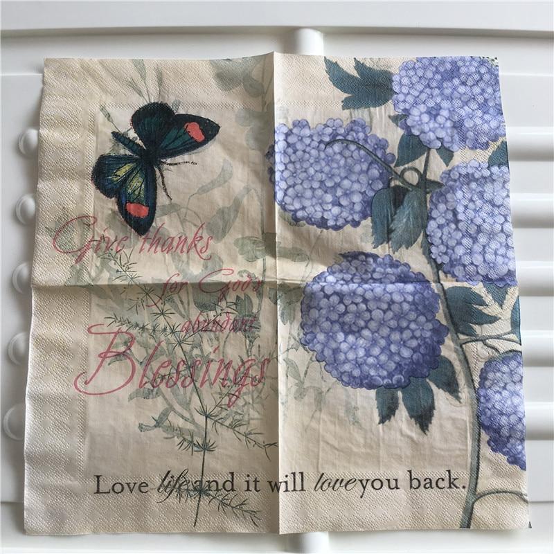 Decoupage Wedding Vintage Napkin Paper Tissue Blue Hydrangea Flower Butterfly Handkerchief Elegant Servilletas Party Decor 20