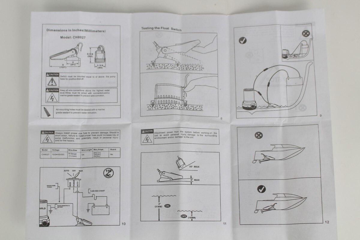 DC 12V 24V flow sensor Float Switch for boats bilge pump Automatic ...
