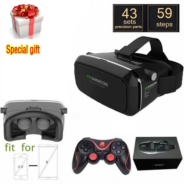 "VR Shinecon Virtual Reality 3D Movie Smartphone Game 3D Glasses Helmet 3 D VR Cardboard 4-7""-6""Smart Phone+ Bluetooth Controller"
