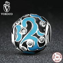 VOROCO 925 Sterling Silver Classic Sky Blue Charm Charms fit Original Pandora Bracelets & Bangles DIY S925 Fashion Jewelry C058