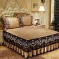 Бесплатная доставка, покрывало для кровати из вельвета с кружевом и кристаллами, 3 шт., качественное покрывало из плотного хлопка, Европейск...