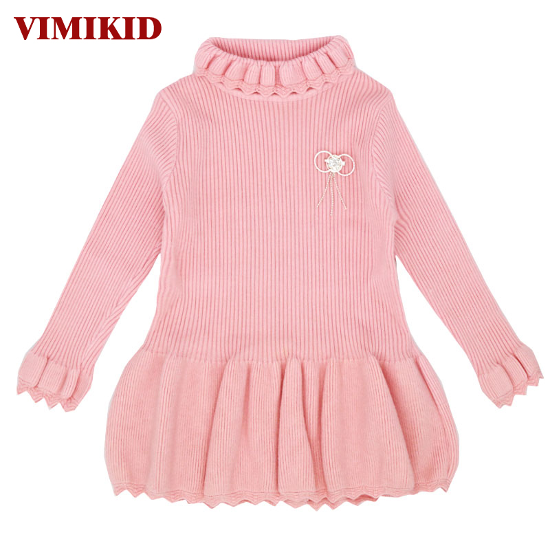 VIMIKID 2017 Winter Girls Sweater Dresses Warm Long Sleeve Turtleneck Dress for Baby Girls Children Thick Sweaters Clothing kids girls winter dresses baby solid pink dark blue turtleneck long sleeve thick casual pullover dress children warm clothes