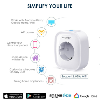 BlitzWolf BW-SHP2 WIFI Smart Socket EU Plug 220V 16A Remote Control Smart Timing Switch Work For Amazon Alexa/Google Assistant 1