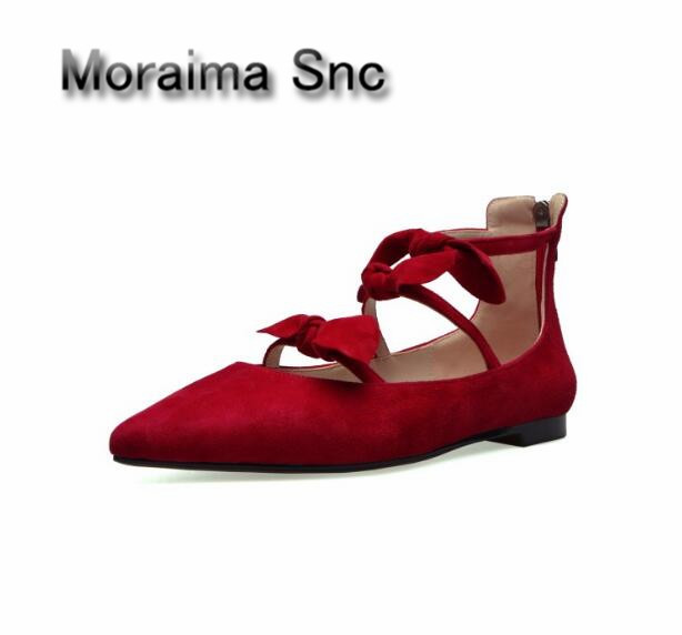Moraima Snc Brand mary janes shoes pointed toe butterfly-knot decor flats shoes women red pink sweet Single shoes for gilrs 2018