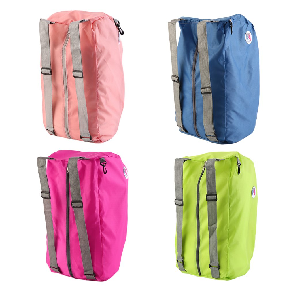 Men Women Outdoor Shoulder Bag  Foldable Zipper Soild Color Sports Backpack Folding Trip Bag Strap Shopping Travel Backpack