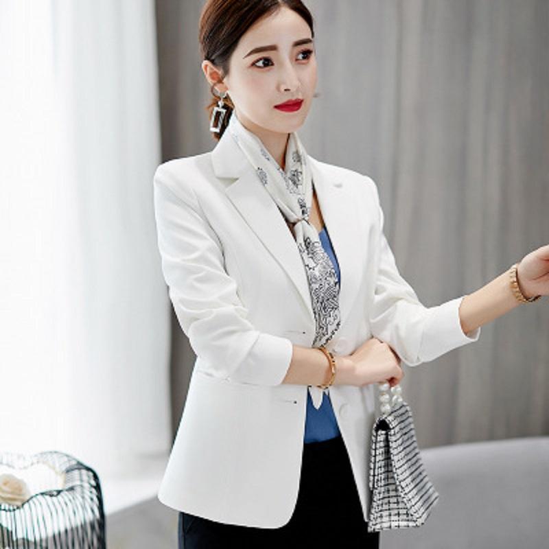 2019 Spring Autumn New Fashion Women  Single Breasted Small Suit Jacket Ladies Long Sleeve Solid Coats Trend Blazers Tops