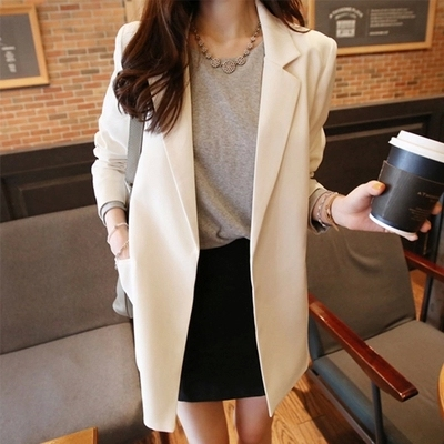 women Long section Casual grid suits blazer Lady office suits blazer female autumn gray formal jackets pocket button suits Islamabad